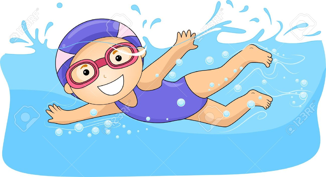 19253777-Illustration-of-a-Swimming-Little-Girl-with-Swim-Caps-and-Goggles-Submerged-in-Water--Stock-Illustration